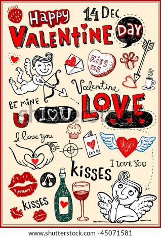 Vector valentine doodles set - stock vector