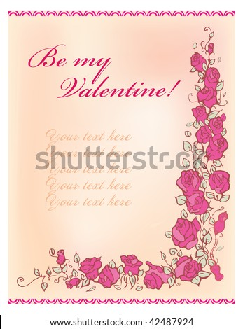 Vector valentine greeting card with roses border on a white background