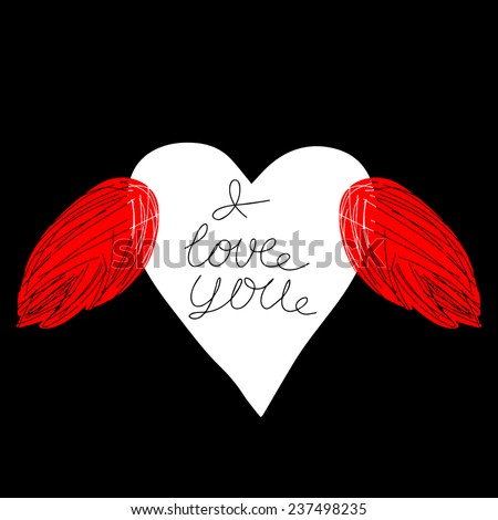 Vector valentine greeting card with text. Hand painted imperfect heart wings congratulation. - stock vector