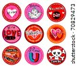 Vector  Valentine's  badges or drink coasters. - stock vector