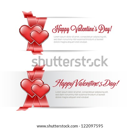 Vector valentine's day banners with satin red ribbon and two glossy hearts - stock vector