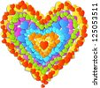 Vector valentine's Day Card with beautiful big heart made up of small rainbow hearts - stock vector