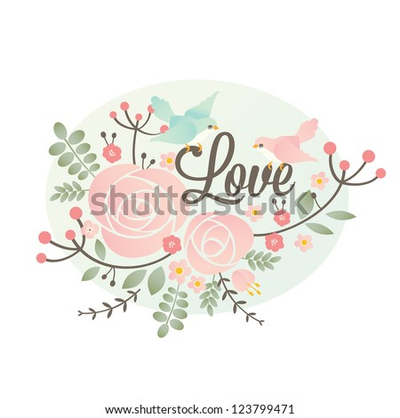 Vector Valentine's day design element with flowers and birds - stock vector