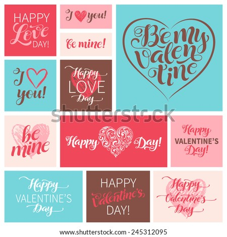 Vector Valentine's Day set of graphic elements. Lettering and calligraphy design for holidays invitation, greeting cards, labels, stickers and posters. - stock vector