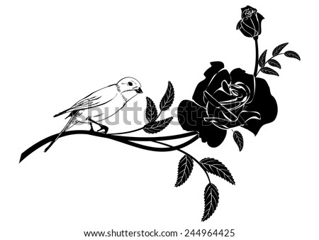 vector Valentine vignette with rose and bird in black and white colors - stock vector