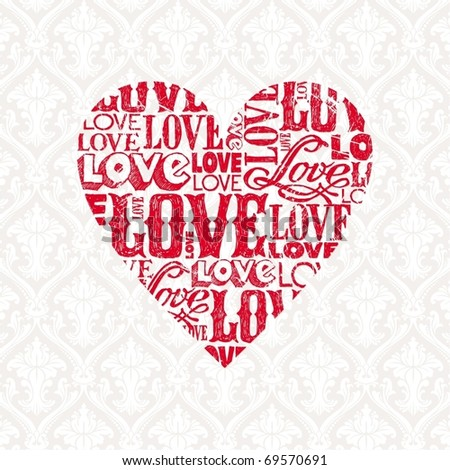 Vector Valentines card with heart - stock vector