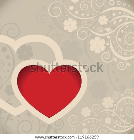 Vector Valentines day card with hearts - stock vector