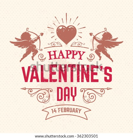 Vector Valentines day greeting card with typography, cupids and ornaments. Vintage style card. - stock vector