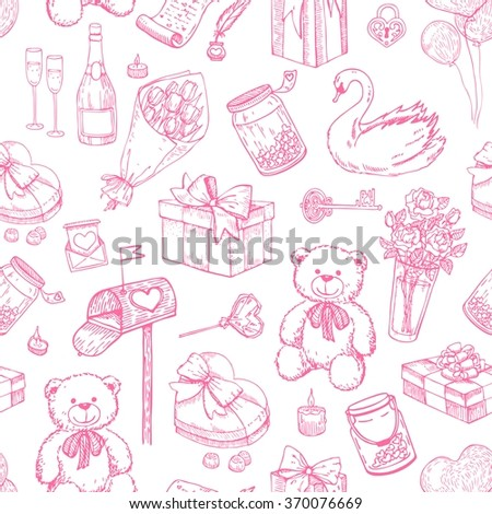 Vector Valentines day seamless pattern. Hand drawn illustrations. Great for wedding invitations and Valentines card - stock vector