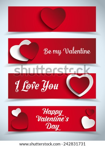 Vector - Valentines Day Set of Four Web Banners - stock vector
