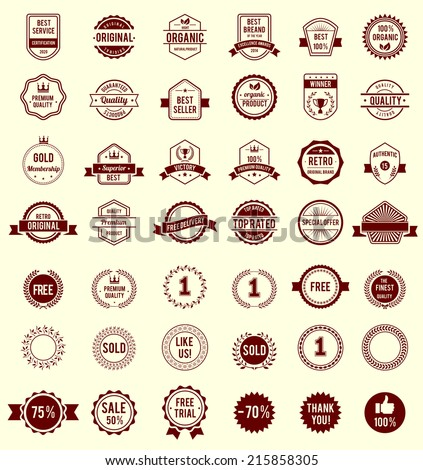 Vector Variety Design Maroon Retro Vintage Badges Isolated on White Background - stock vector