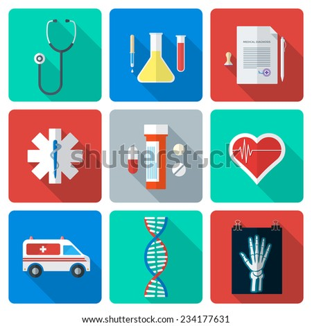 vector various color flat style medical icons with shadow - stock vector