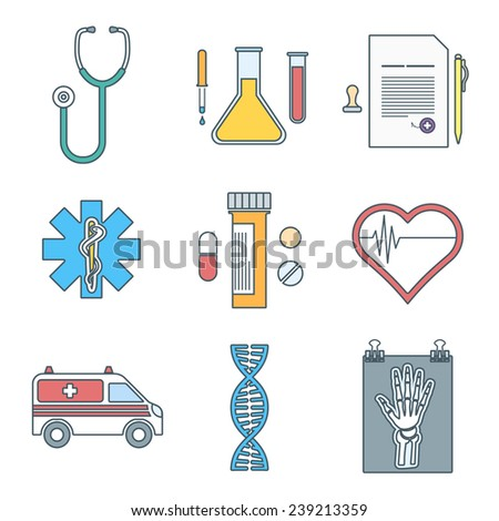 vector various color outline medical icons set - stock vector