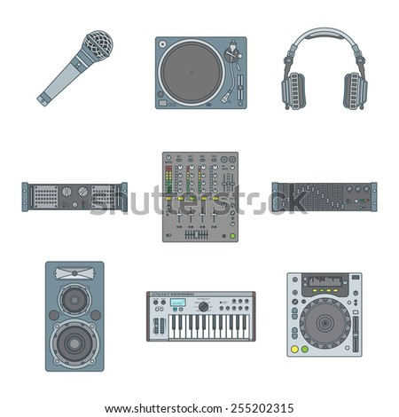 vector various color outline sound dj equipment devices icons set white background  - stock vector