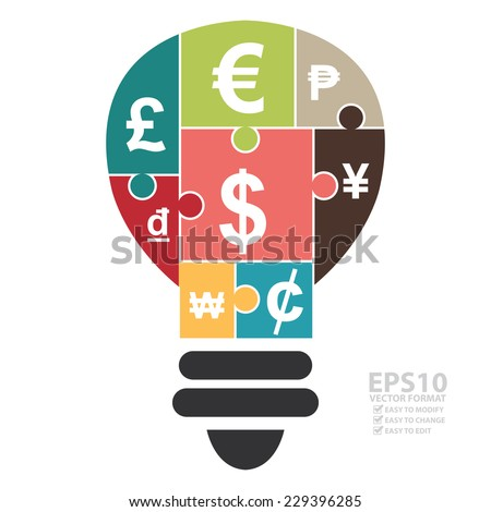 Vector : Various Currency Sign Puzzle in Light Bulb Icon Isolated on White Background  - stock vector