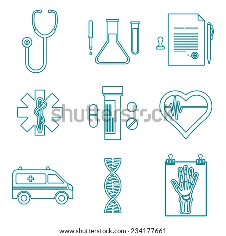 vector various dark blue color outline medical icons on white background - stock vector