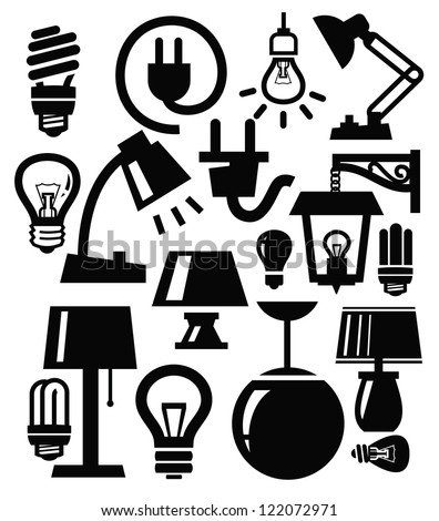 vector various lighting icons of lamps on white - stock vector