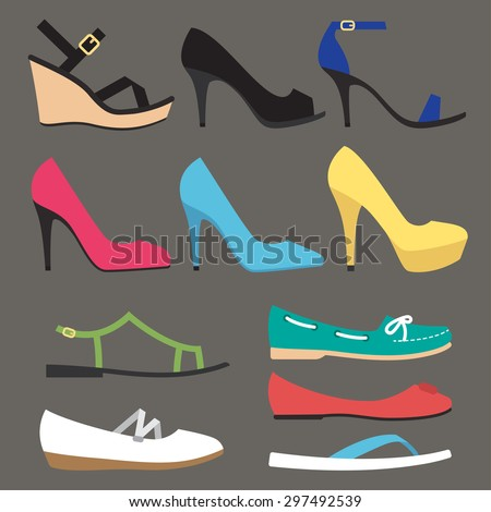 Vector various types of woman summer shoes. Flat style. Side view. - stock vector