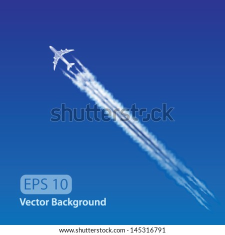 Vector Vector Airplane with condensation trail illustration - stock vector