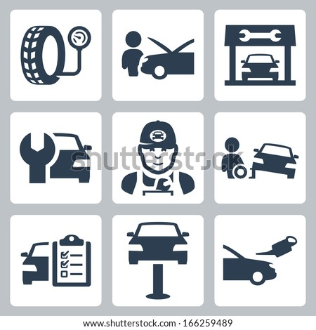Vector vehicle service station icons set - stock vector