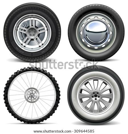 Vector Vehicle Wheels - stock vector