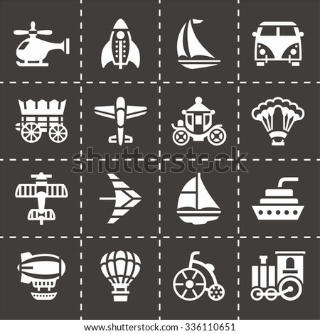 Vector Vehicles icon set on black background