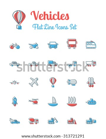 vector vehicles icons set flat line style - stock vector