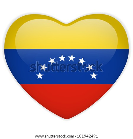 Vector - Venezuela Flag Heart Glossy Button - stock vector