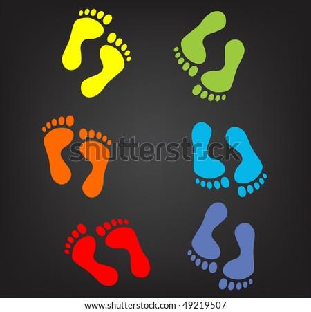 vector version footprint symbols. Combinations. - stock vector