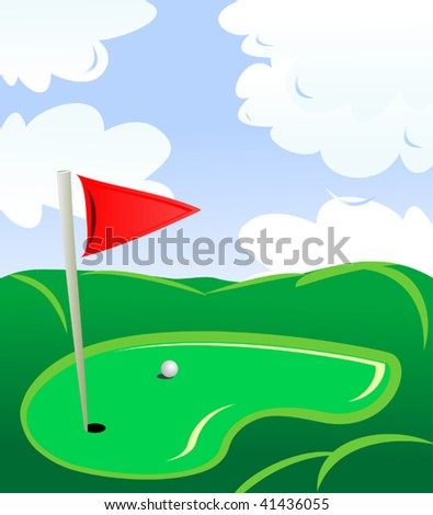 Vector version. Golf field landscape as a concept of golf game - stock vector