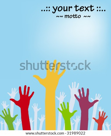 vector version of colorful hands with copyspace - part 2 - stock vector