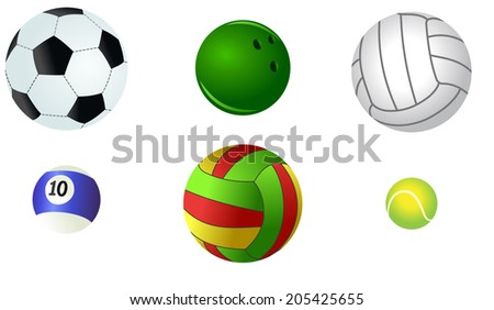 Vector version of different and colored sporting balls