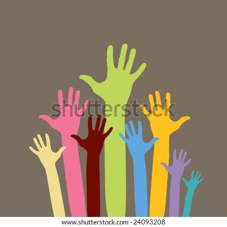 vector version of happy volunteering  hands - part 1 - stock vector