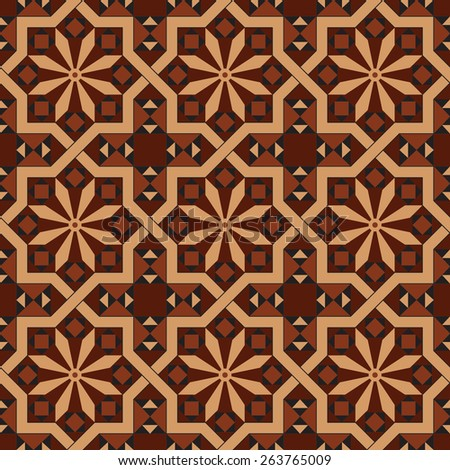 Vector version of seamless vintage editable tile pattern with geometrical and floral motifs in warm red, brown, black, ocher colors. Can be used as mosaic wall, floor or another surface. - stock vector