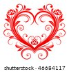 Vector version. Red valentine heart in floral style for design. Jpeg version is also available - stock vector
