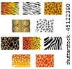 Vector version. Set of animal fur and skin patterns for design. Jpeg version is also available - stock vector