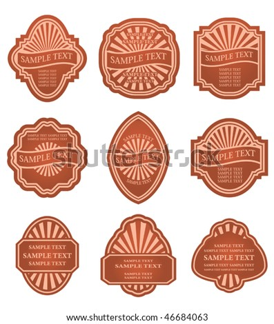 Vector version. Set of old brown labels for design food and beverages. Jpeg version is also available - stock vector