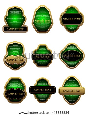 Vector version. Set of vintage gold labels for design food and beverages. Jpeg version is also available