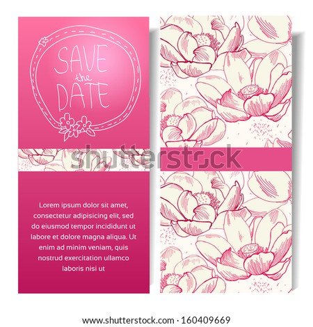 Vector vertical banner with colorful doodles  hand drawn. Save the date fashion ticket.Vector seamless pattern of flower  lotus isolated, sketchy hand drawn illustration on vintage paper background - stock vector