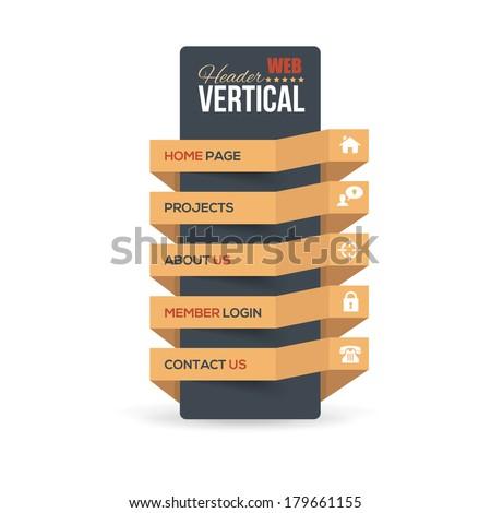 Vector Vertical Header Web Menu Design - stock vector