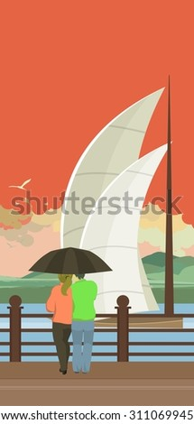 Vector vertical illustration of an evening pier is a couple in love and looking at the sailing sailboats - stock vector