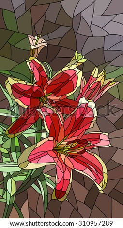 Vector vertical mosaic with large cells of pink lily. - stock vector
