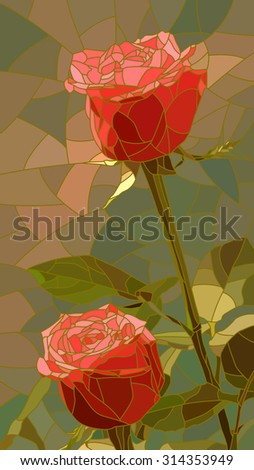 Vector vertical mosaic with large cells of red roses. - stock vector