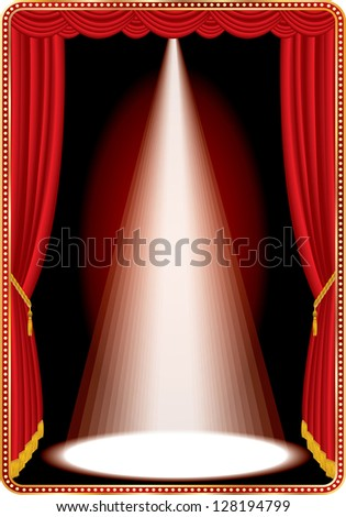 vector vertical red stage with one white spot light - stock vector