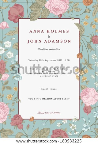 Vector vertical vintage floral wedding invitation card with frame of colorful garden flowers on mint background. - stock vector