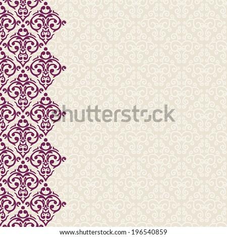Vector vertically seamless baroque damask luxury frame border - stock vector