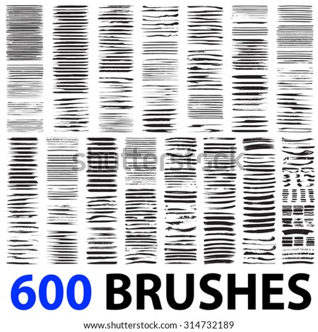 Vector very large collection or set of 600 artistic black paint hand made creative brush strokes isolated on white background, metaphor to art, grunge or grungy, graffiti, education or abstract design - stock vector