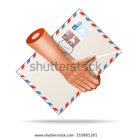 Vector very realistic mail pocket envelope icon