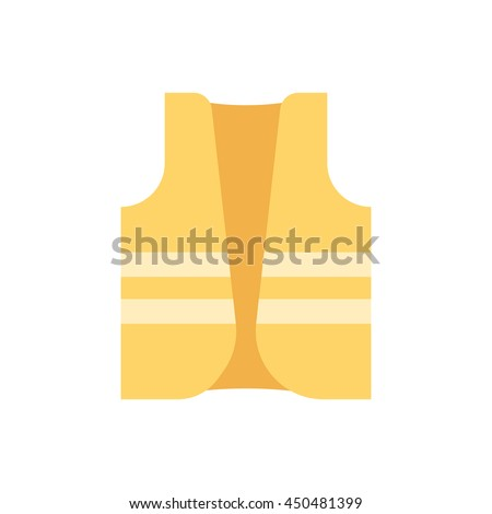Vector vest safety work life jacket flat icon isolated