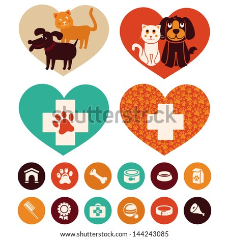 Vector veterinary emblems and signs - cat and dog cartoon icons - stock vector